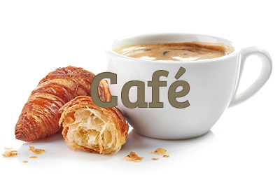 a white cup filled with coffee with fresh croissant alongside